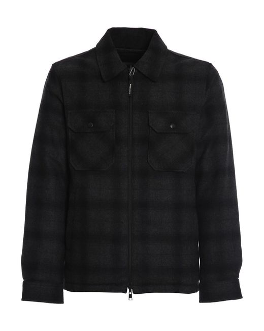 Woolrich Gray Reversible Wool Padded Shirt for men