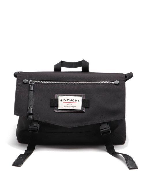 Givenchy Black Downtown Messenger Tech Fabric Bag for men