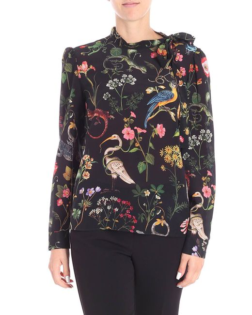 RED Valentino - Black Blouse With Multicolor Jungle Print - Lyst