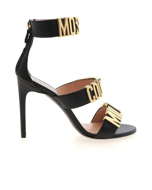 Moschino Black Golden Lettering Logo Sandals