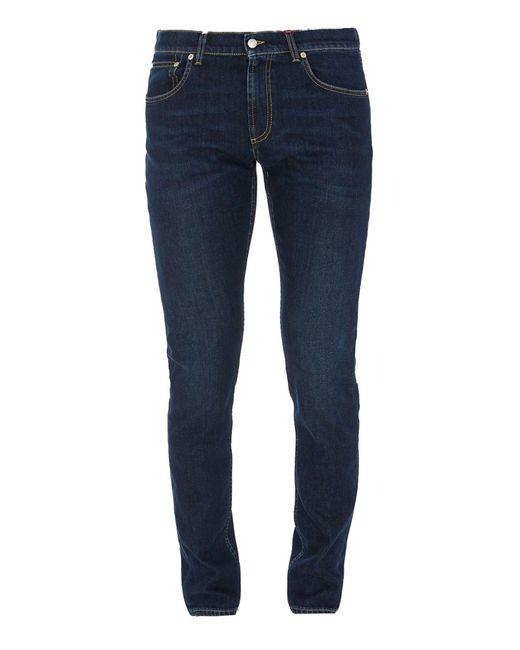 Alexander McQueen Blue Stretch Denim Straight Leg Jeans for men