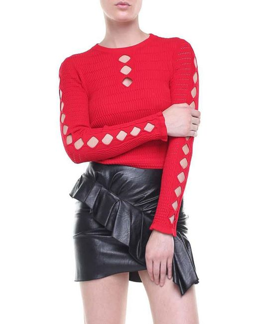 KENZO - Red Stretch Knitted Pullover With Cut-outs - Lyst