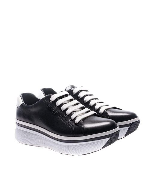 Prada - Low Top Black Leather Sneakers - Lyst