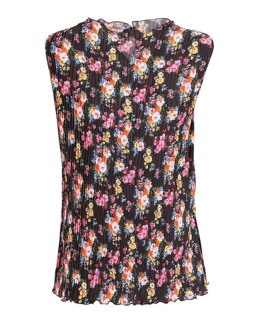 Blusa Plissettata Con Motivo Floreale Multicolor di MSGM