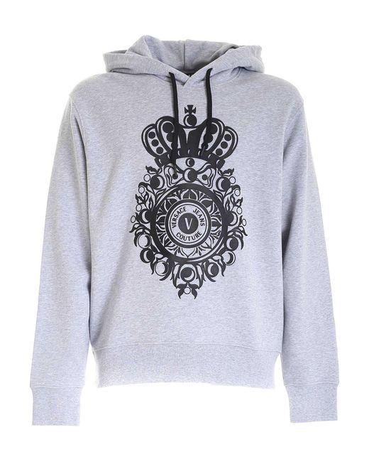 Felpa Stampa Logo Gommata Grigia E Nera di Versace Jeans in Gray da Uomo