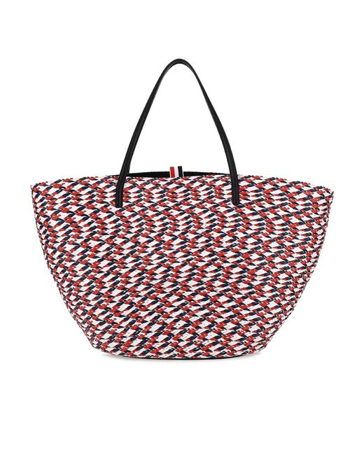 Thom Browne Red Tricolour Raffia Tote Bag