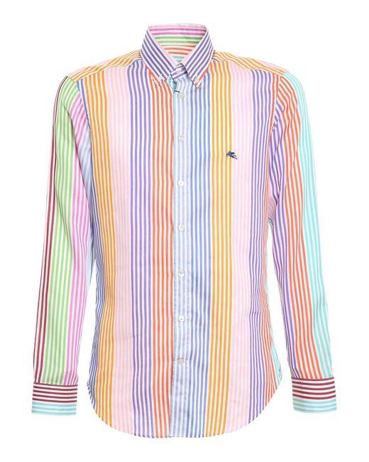 Etro Multicolor Multicolour Striped Cotton Shirt for men