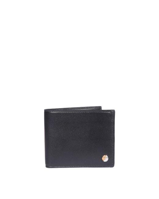 Versace Black Medusa Leather Bi-fold Wallet for men