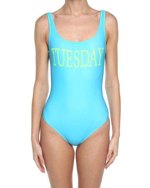 Alberta Ferretti - Blue Turquoise Tuesday Lycra Swimsuit - Lyst