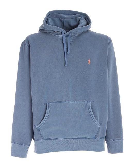 Polo Ralph Lauren Blue Pink Logo Sweatshirt for men