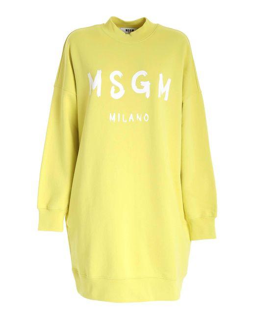 Abito Giallo Con Stampa Logo Pennellato di MSGM in Yellow