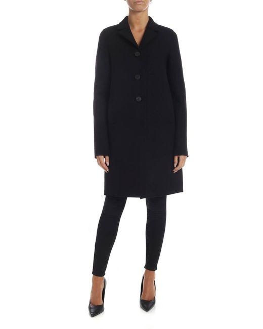 Harris Wharf London Black Coat In Virgin Wool Cloth
