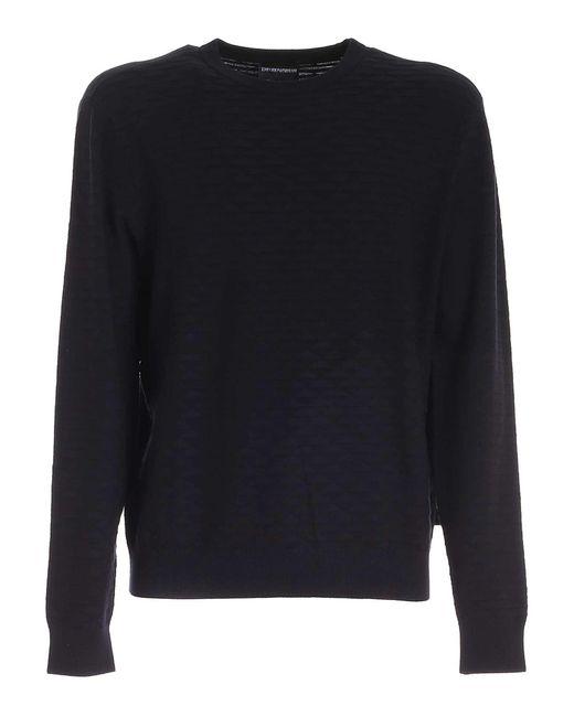 Emporio Armani Blue Viscose Sweater for men