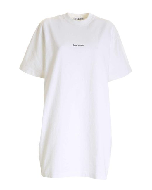 Maxi T-Shirt Bianca Con Stampa Logo di Acne in White