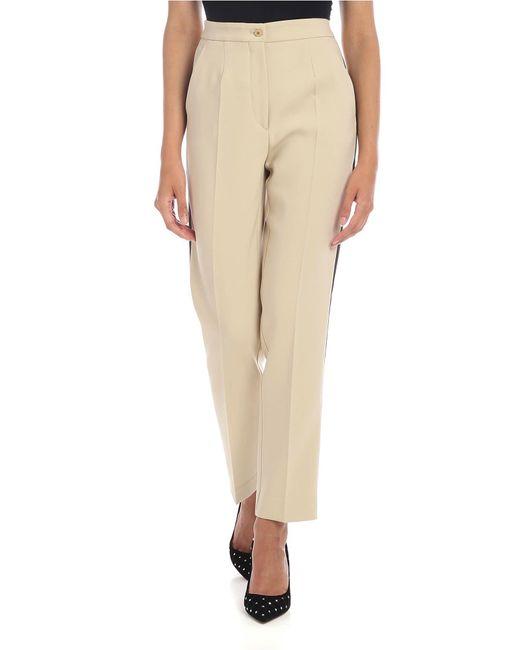 Pantalone Beige Con Banda A Contrasto di Etro in Natural