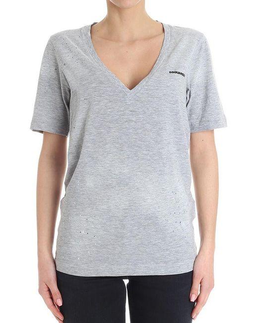 DSquared² - Gray Logo T-shirt - Lyst