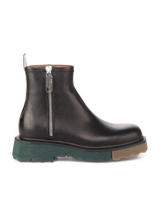 Off-White c/o Virgil Abloh Black Leather Ankle Boots for men