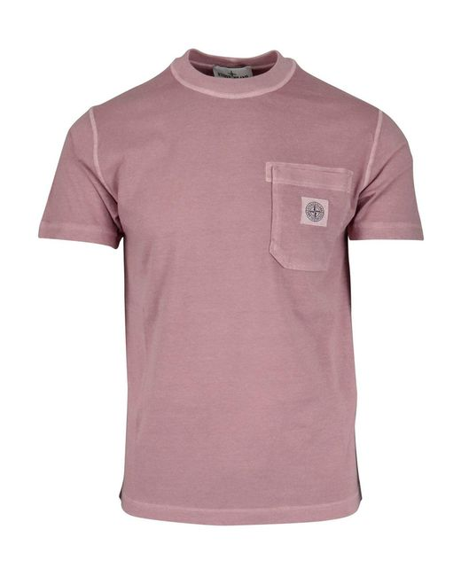 Stone Island Pink Logo Patch T-shirt for men