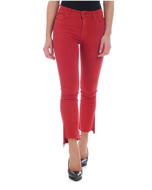 Jeans Step Fray Rosso di Mother in Red