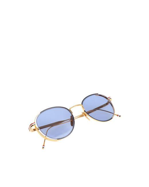 Sunglasses Golden Women's Blue Lens With POikuXZ