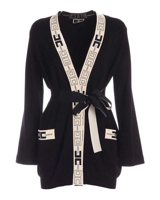 Cardigan Nero Con Bordi Logati di Elisabetta Franchi in Black