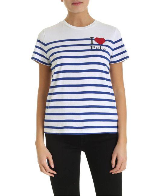 T-Shirt Bianca A Righe Blu Elettrico Con Logo di Polo Ralph Lauren in Blue