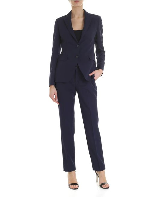 Tagliatore Blue Suit With Stitching