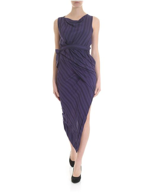 Vivienne Westwood Anglomania Vian Dress With Blue And Black Stripes