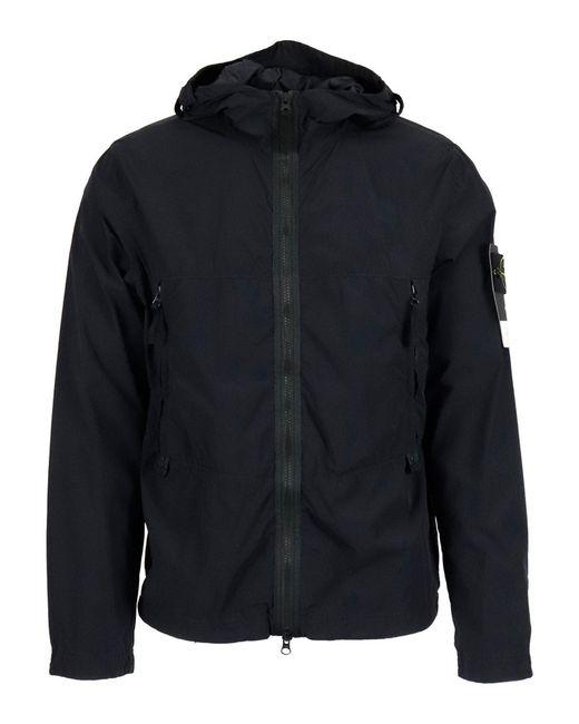Stone Island Black Tech Fabric Hooded Jacket for men