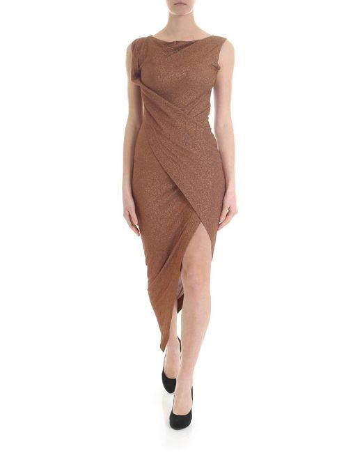 Vivienne Westwood Anglomania Brown Lamè Sheath Dress