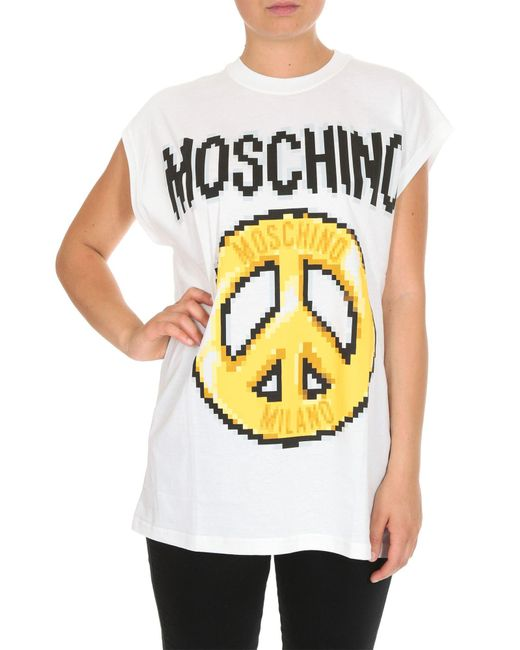 T-shirt maglia maniche corte girocollo donna peace pixel capsule di Moschino in White
