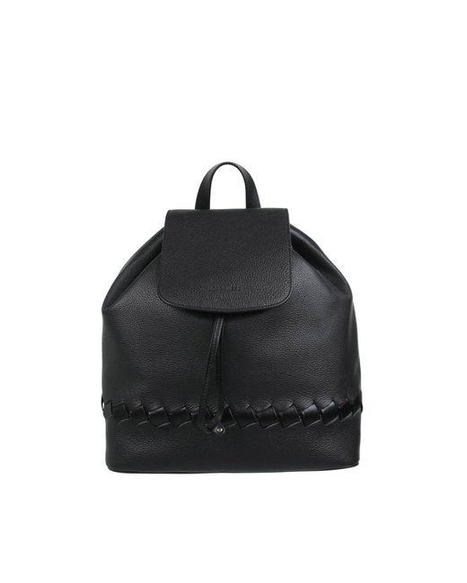 Borbonese Black Braided Backpack