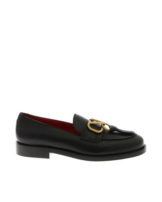Valentino Vlogo Loafers In Black Leather