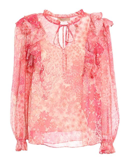 Twin Set Pink Floral Patterned Creponne Blouse