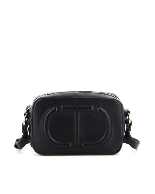Twin Set Black Embossed Logo Crossbody Bag