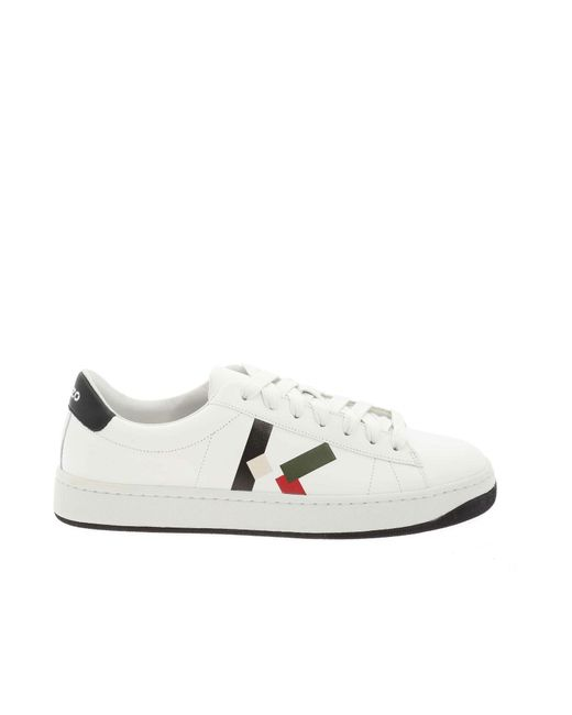 KENZO White Kourt Lace Up Sneakers for men