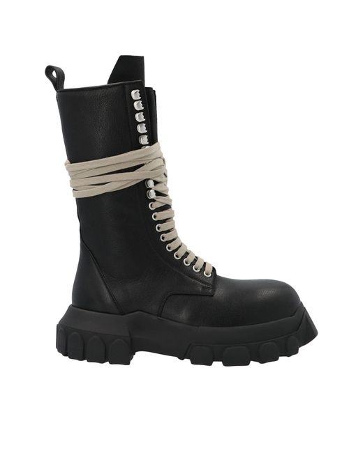 Rick Owens Black Laceup Bozo Tractor Boots