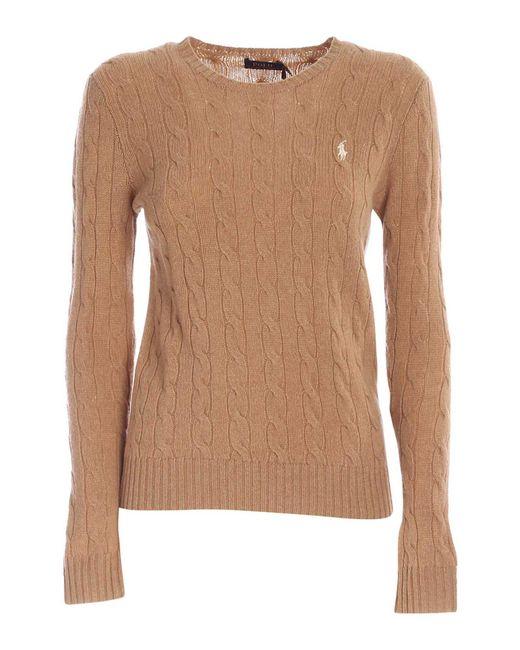 Maglione A Trecce Color Cammello di Polo Ralph Lauren in Brown