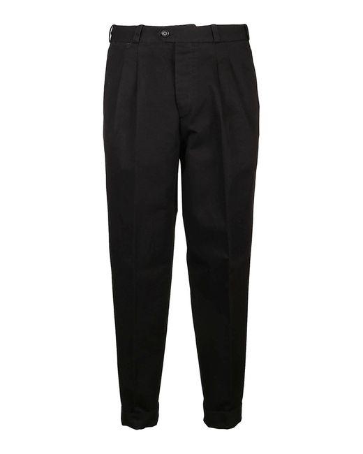 PT Torino Black The Reporter Cotton Linen Blend Pants for men