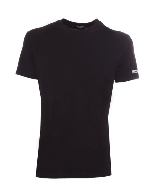 T-Shirt Nera Con Logo Sulla Manica di DSquared² in Black da Uomo