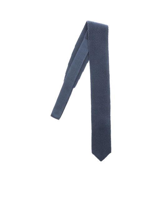 Cravatta in maglia color avio di Ermenegildo Zegna in Blue da Uomo