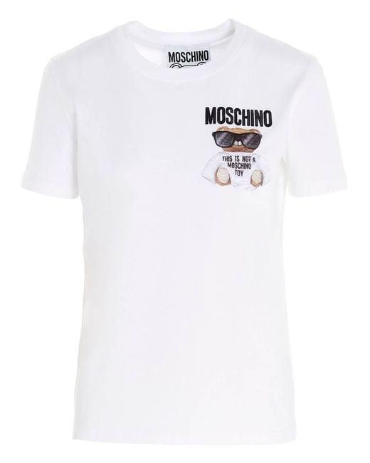 T-Shirt Micro Teddy Bear Bianca di Moschino in White