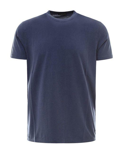 Tom Ford Blue Cotton T-shirt for men