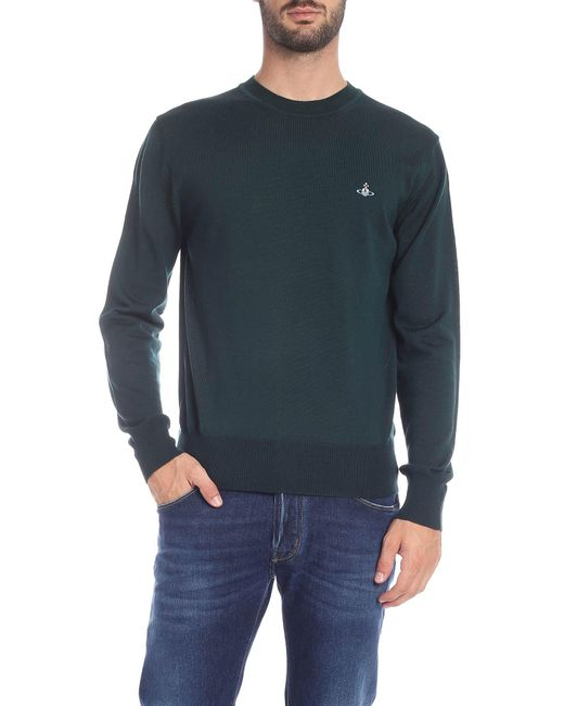 Vivienne Westwood Glass Green Pullover With Logo for men