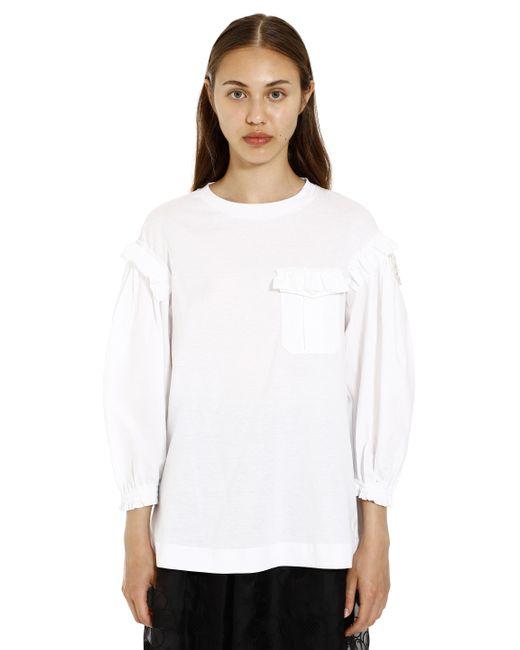 4 MONCLER SIMONE ROCHA White Ruffled Long Sleeve T-shirt