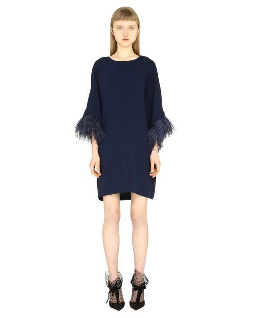 P.A.R.O.S.H. Blue Feather Trim Dress