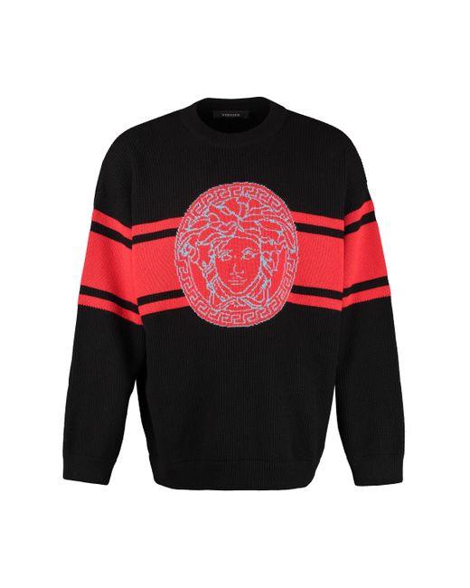 Maglione a coste in lana di Versace in Black da Uomo