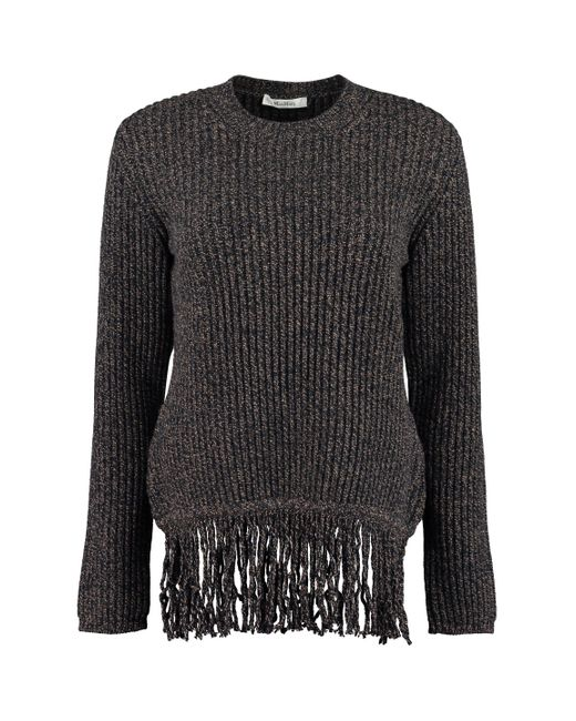 Max Mara Blue Femme Ribbed Sweater With Fringes