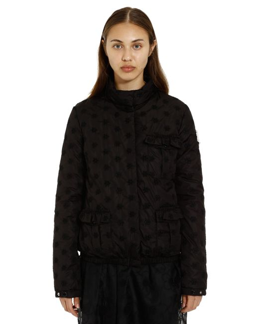 4 MONCLER SIMONE ROCHA Black Hillary Floral Embroidered Down Jacket