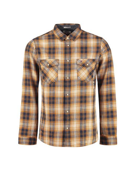 Camicia in cotone a quadri di Tommy Hilfiger in Brown da Uomo